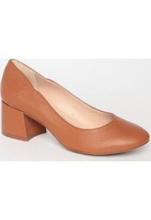 Sapato Tradicional Liso Em Couro- Marrom- Salto: 6Cmloucos E Santos
