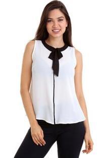 Blusa Regata Bicolor Com Laço Na Gola Feminina - Feminino-Branco