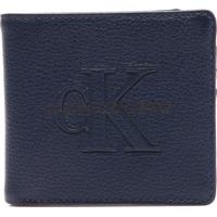 Carteira Couro Calvin Klein Logo Azul-Marinho f61a0264e1