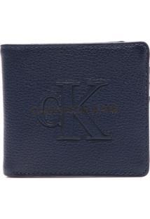 Carteira Couro Calvin Klein Logo Azul-Marinho