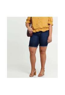 Bermuda Feminina Jeans Barra Desfiada Plus Size