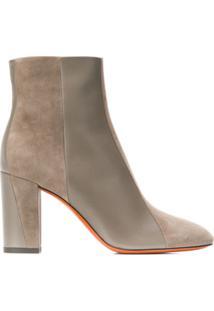 Santoni Contrasting Panel Ankle Boots - Marrom