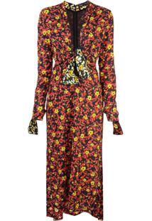 Proenza Schouler Vestido Georgette Estampado - Poppy Wildflower