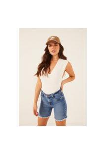Bermuda Jeans Denim Zero Slim Com Barra Desfiada