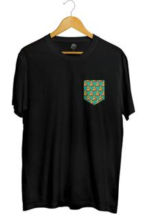 Camiseta Bsc Pizza Poa Pocket Full Print - Masculino-Preto