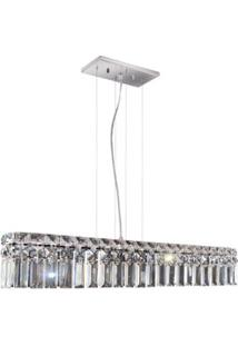 Pendente Quadrado Llum De Aço Inox Para 6 Lâmpadas Cabo Ajustável De 1M Cristal Paris