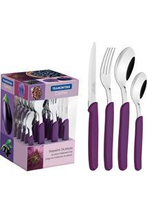 Faqueiro Em Aço Inox Carmel Púrpura Escuro Com 24 Peças