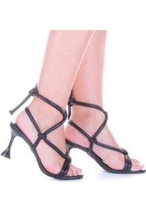 Sandália Salto Alto Taça Di Valentini Ohana Napa Amarração Feminina - Feminino