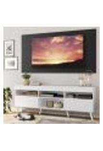 """Rack Com Painel Tv 65"""" Londres Multimóveis Pés Retrô E 2 Portas Branco/Preto/Branco"""