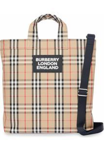 Burberry Bolsa Tote Xadrez Vintage De Algodão Com Aplicação De Logo - Neutro
