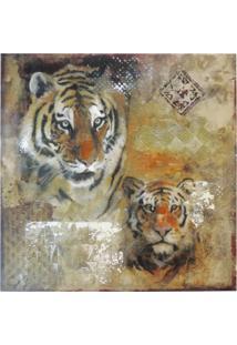 Quadro Kasa Ideia Canvas Colorido Tigre 60Cm