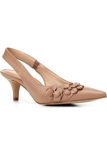 Scarpin Shoestock Bride Bico Fino Flores Salto Baixo - Feminino-Nude