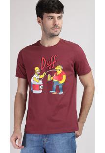 b64b6d36e ... Camiseta Masculina Duff Os Simpsons Manga Curta Gola Careca Vinho