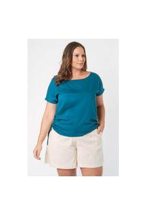 Blusa Almaria Plus Size Munny Amarração Lateral Azul