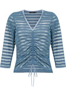 Corporeum Blusa Drapeada Listrada - Azul