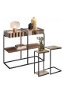 Aparador Decorativo Espelhado Com Mesas Laterais Industrial D01 Design Demolição - Lyam Decor