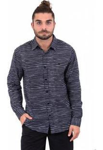 Camisa Limits Capri Manga Longa Stripes Masculina - Masculino-Preto