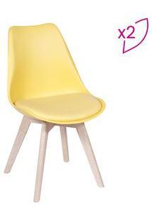 Or Design Jogo De Cadeiras Modesti Amarelo & Bege Claro 2Pã§S