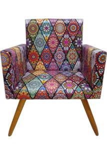 Poltrona Decorativa Nina Suede Mosaico Preto - Ds Móveis