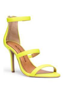 Sandalia Salto Alto Ziper Traseiro Amarelo