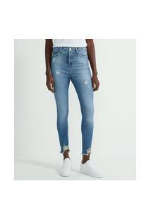 Calca Jeans Liso Skinny Azul Média Com Linha E Rebites Laranja E Barra Puída | Blue Steel | Azul | 36