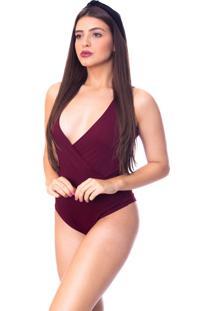 Body Moda Vicio Com Transpasse Frente Vinho - Tricae