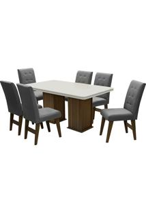 Conjunto De Mesa Para Sala De Jantar Com 6 Cadeiras Esparta-Dobue - Castanho / Off / Grafite