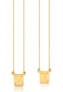 Escapulário De Ouro 18K Com Medalhas Ornato De N.S.Carmo E S.C.Jesus