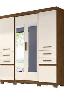 Guarda-Roupa Casal Com Espelho Aracajú 6 Pt 4 Gv Baunilha E Castanho Wood