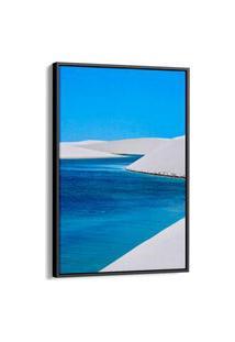 Quadro 90X60Cm Paisagem Lençois Maranheces Praia Canvas Moldura Flutuante Preta