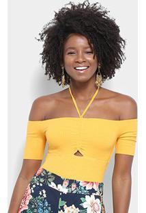 Body Farm Busto Ombro A Ombro Canelado Feminino - Feminino-Amarelo
