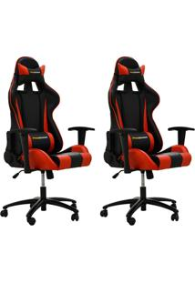 Kit 02 Cadeiras Gamer Giratória Reclinável Com Regulagem De Altura Ergonômica Pro-V Sport Pu Preto/Vermelho - Gran Belo