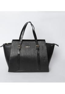 Bolsa De Mão Texturizada Com Fivelas- Preta- 27X42X1Griffazzi