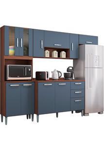 Cozinha Compacta 8 Portas Com Balcão Lavínia Capucino/Cinza Platinum -