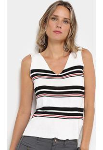Regata Mullet Em Tricô Forwhy Listrada Feminina - Feminino-Branco+Vermelho