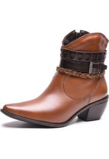 Bota Texana Cano Curto Em Couro Trivalle Shoes Caramelo - Kanui