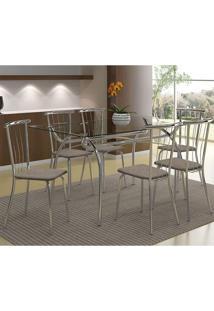 Mesa 379 Vidro Incolor Cromada Com 6 Cadeiras 154 Camurça Conhaque Carraro