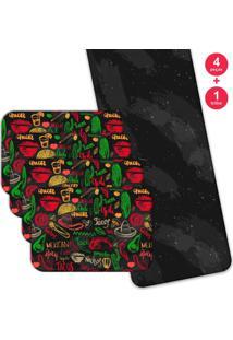 Jogo Americano Love Decor Com Caminho De Mesa Wevans Mexican Kit Com 4 Pçs 1 Trilho
