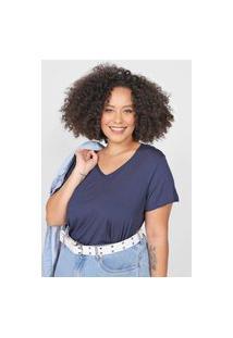 Blusa Basicamente. Plus Size Lisa Azul-Marinho