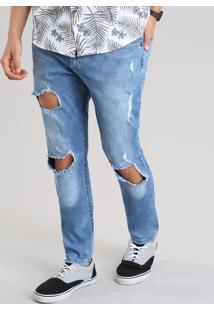 Calça Jeans Skinny Destroyed Com Algodão + Sustentável Azul Médio