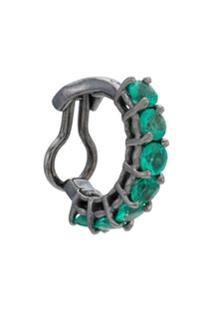 Jack Vartanian Piercing 'Chain Lovers' Ouro Branco 18K Ródio Negro Com Diamantes E Esmeraldas - Prateado