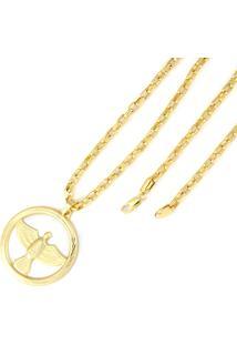 Pingente Espirito Santo + Corrente Modelo Francesa 4Mm Tudo Jóias Folheada A Ouro 18 Dourada