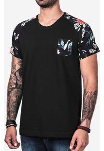 Camiseta Raglan Preta Manga Floral 101905