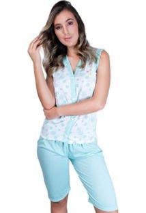 Pijama Pescador Aberto Botões Adulto Curto Feminino - Feminino-Verde