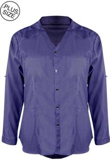 Jaqueta Outletdri Jeans Plus Size Botão Frontal E Bolso Biodegradável Azul