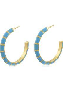 Brinco Viva Jolie Argola Grande Colors Azul Turquesa Banho Em Ouro