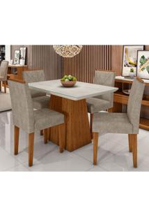 Conjunto De Mesa De Jantar Bárbara Com 4 Cadeiras Estofada Amanda Animalle Branco Off White