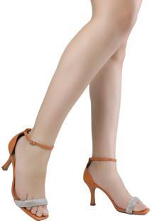 Sandália Feminina Salto Fino Zariff Bico Quadrado Com Brilho