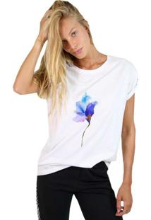 Camiseta Joss Feminina Rose Neon Branco