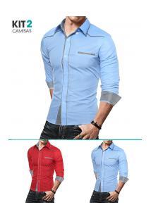 Kit 2 Camisas Masculinas Slim Com Detalhes Xadrez Manga Longa - Azul Claro E Vermelho